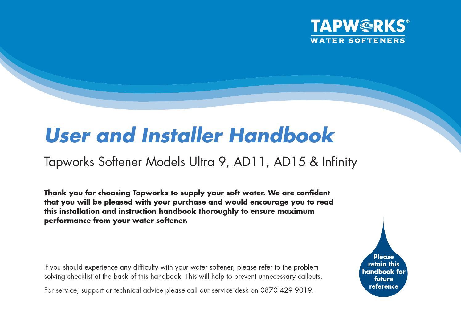 tapworks water softener user manual