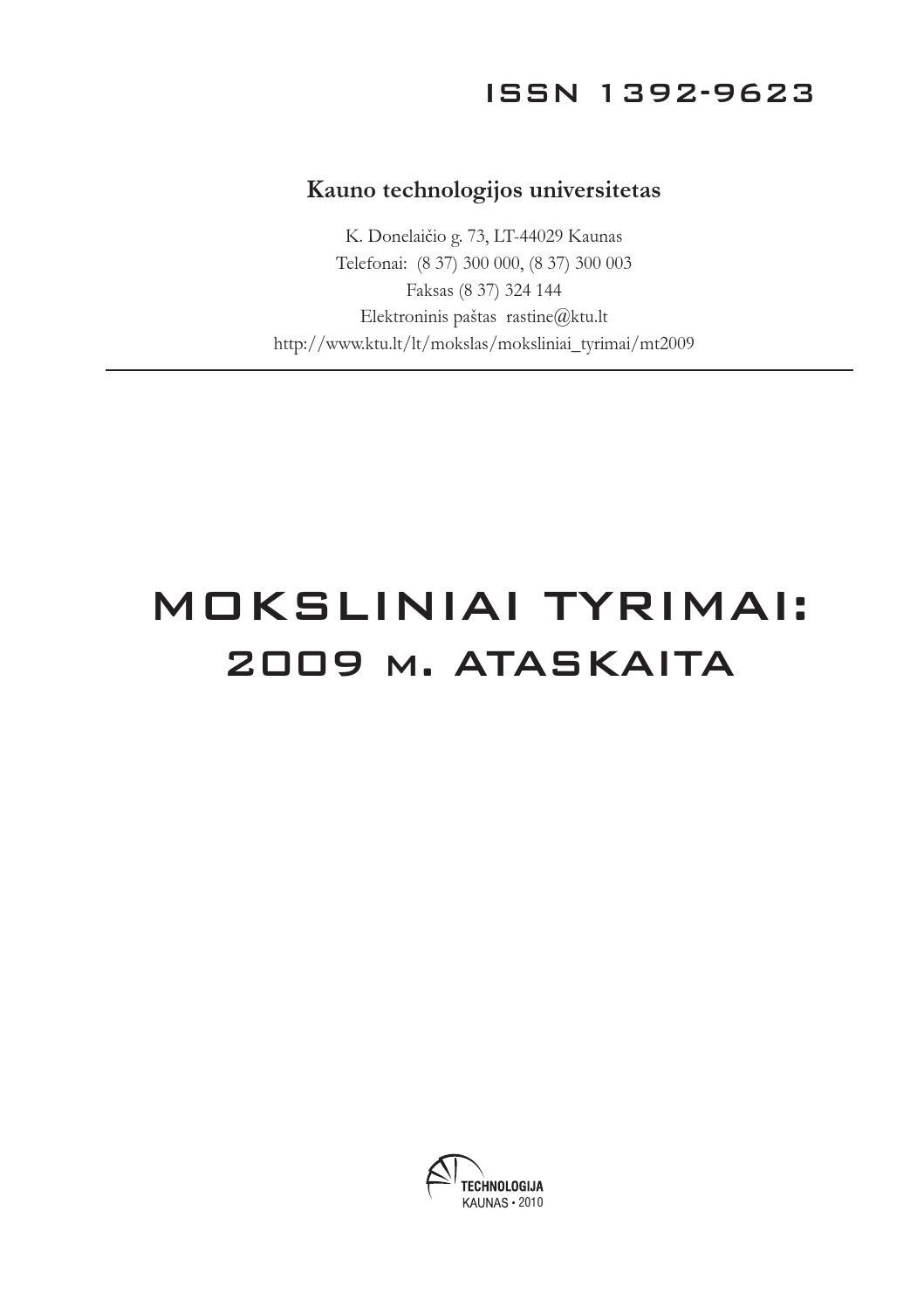 Moksliniai Tyrimai 2009 By MokslDept Issuu