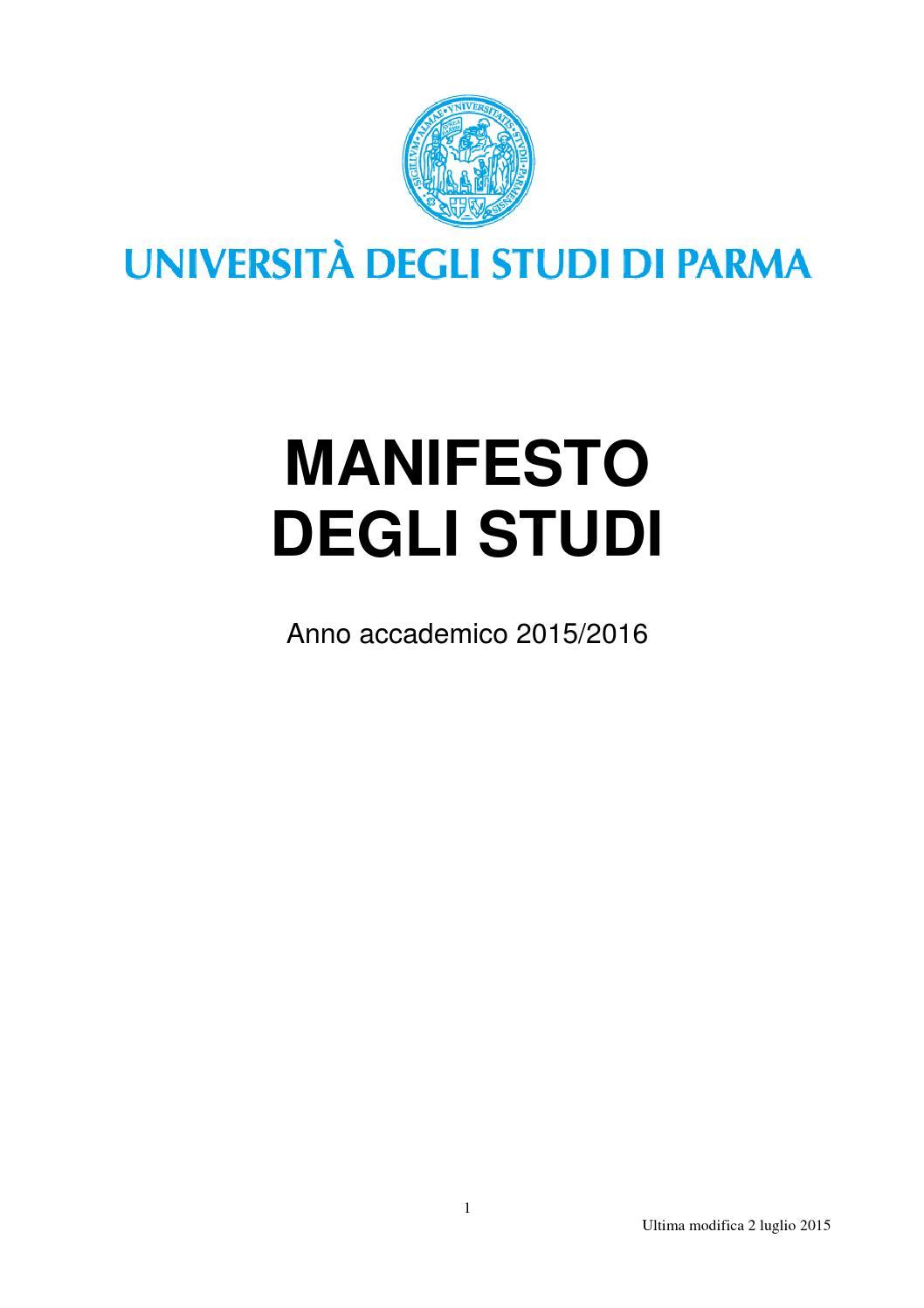 vendita calda reale catturare piuttosto fico Manifesto degli studi 2015-2016 dell'Universita di Parma by ...