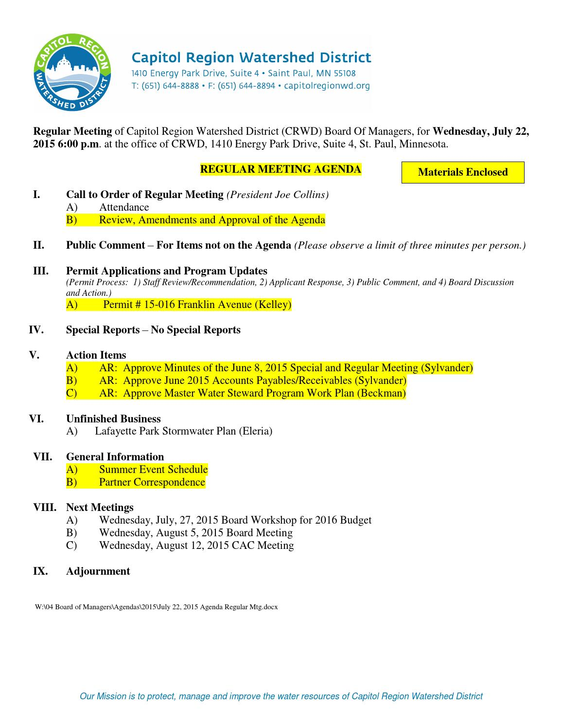July 22 2015 Board Of Managers Packet By Capitol Region Watershed District Issuu