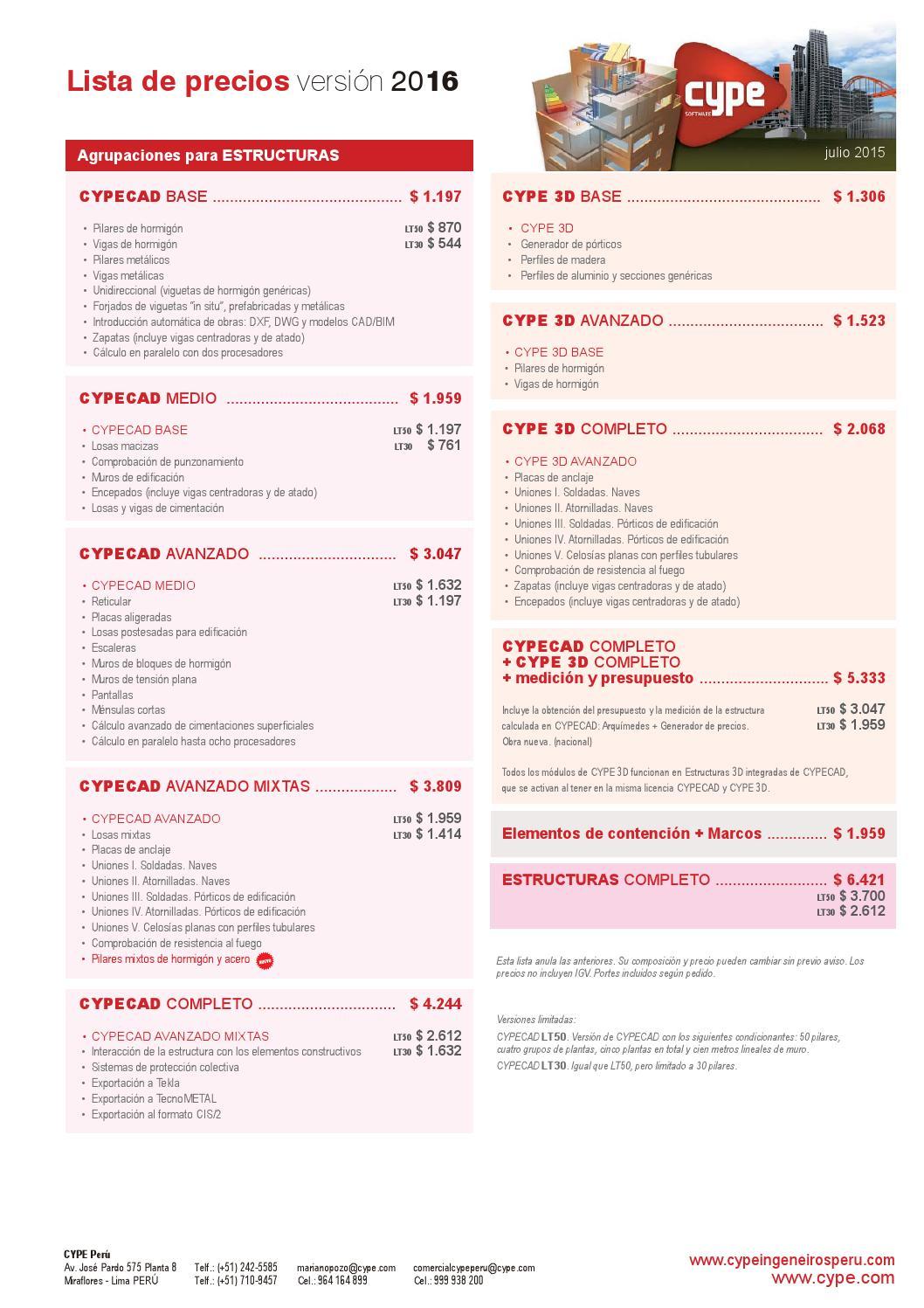 Lista De Precios Versi N 2016 De Cype By Jose Casanova Issuu
