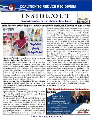 Coalition To Reduce Recidivism Newsletter Summer 2015 by