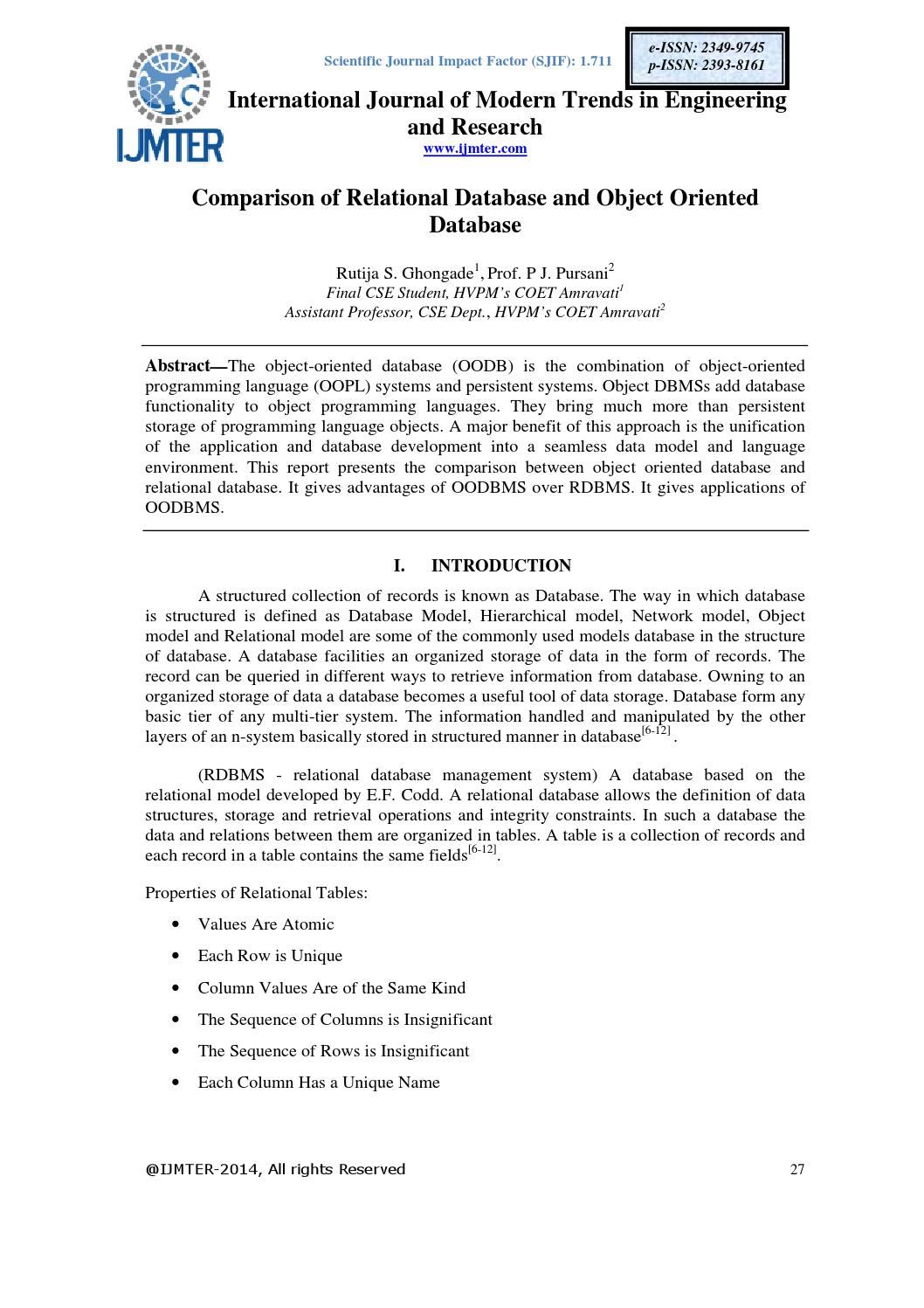 Comparison of relational database and object oriented database by ...