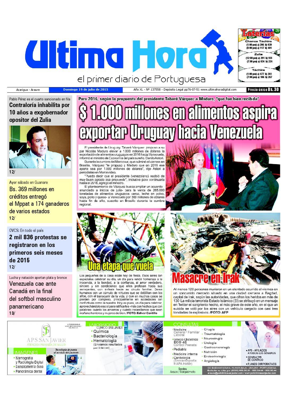 61b2237b Edicion19 07 2015 by Ultima Hora - El primer diario de Portuguesa - issuu