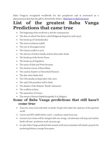 Baba vanga book of predictions