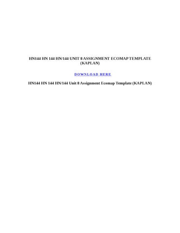 Hn Hn  Hn Unit  Assignment Ecomap Template Kaplan By
