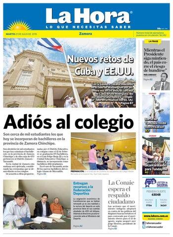 Diario La Hora Zamora 21 de Julio 2015 by Diario La Hora Ecuador - issuu f50dc85dc3f