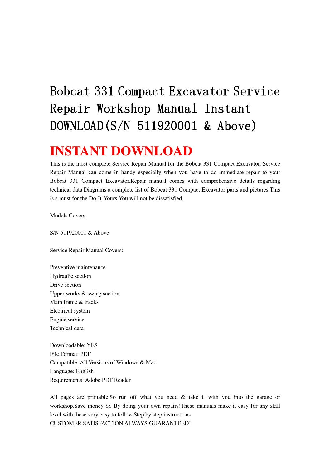 Bobcat 331 compact excavator service repair workshop manual instant  download(sn 511920001 & above by jshefjsne - issuu