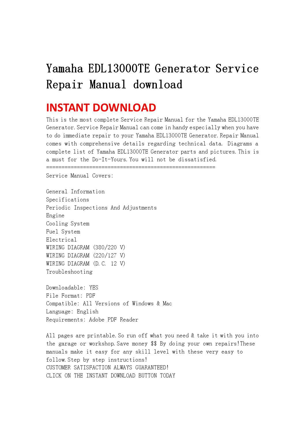 Yamaha Edl13000te Generator Service Repair Manual Download By Printable Basic Electrical Wiring Diagrams Garage Jshefjsne Issuu