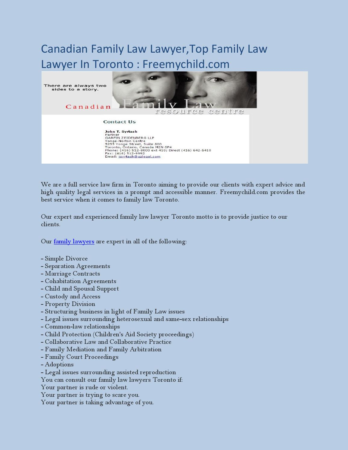 family laws content with canada