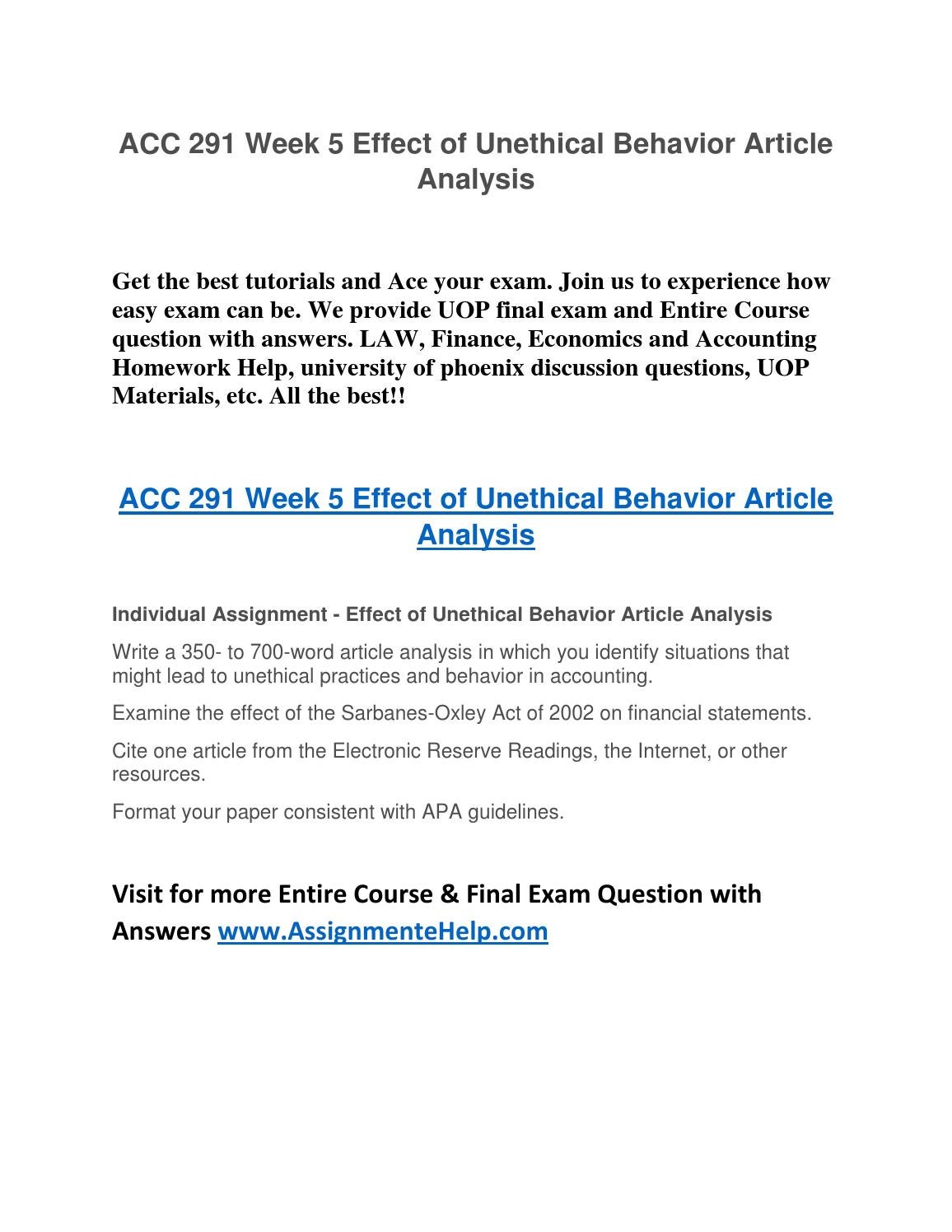 ACC 291 Week 5 Effect of Unethical Behavior Article UOP