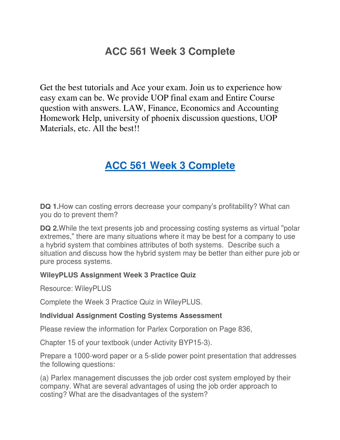 ACC 561 Week 4 Assignment WileyPLUS - Latest