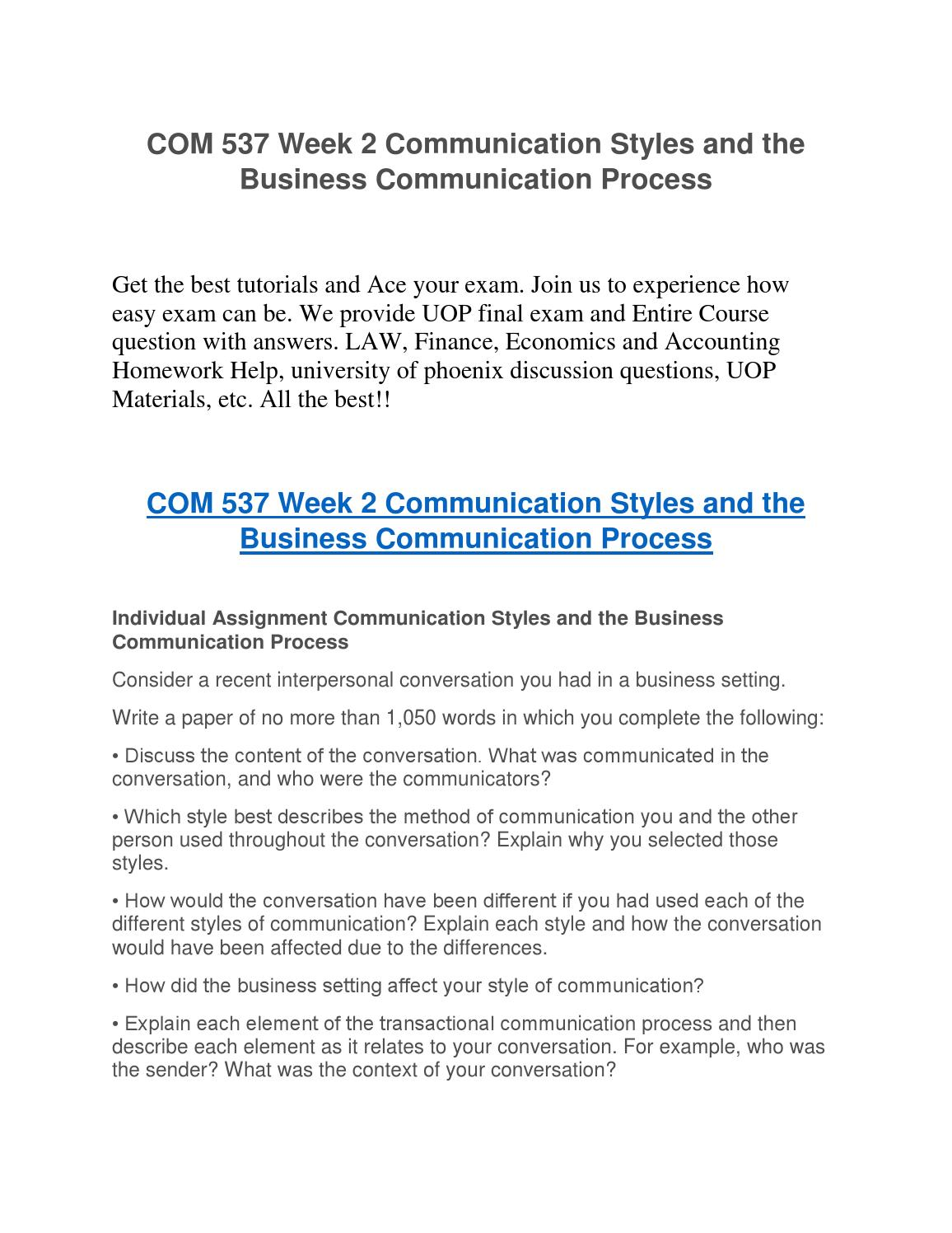 COM 537 Week 2 Communication Styles And The Business Communication