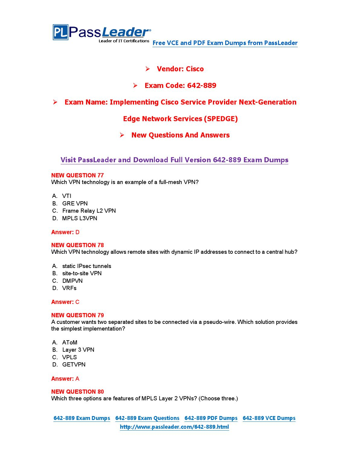 New 642-889 Exam Dumps with PDF and VCE Download by PassLeader - issuu