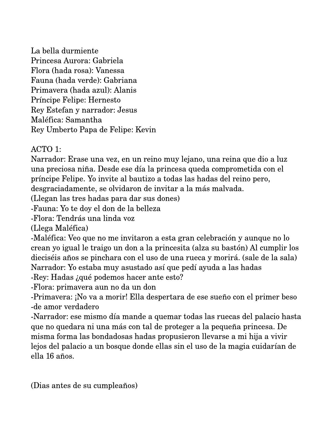 Guion Bella Durmiente By Vanessa Osio Issuu