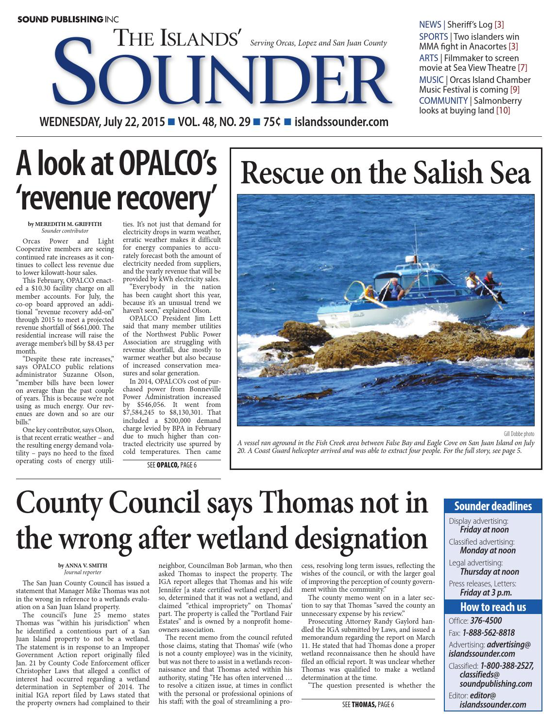Islands\' Sounder, July 22, 2015 by Sound Publishing - issuu