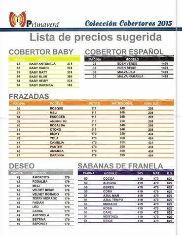 Precios catalogo de cobertores primavera 2015 16 by www for Catalogos de sofas y precios