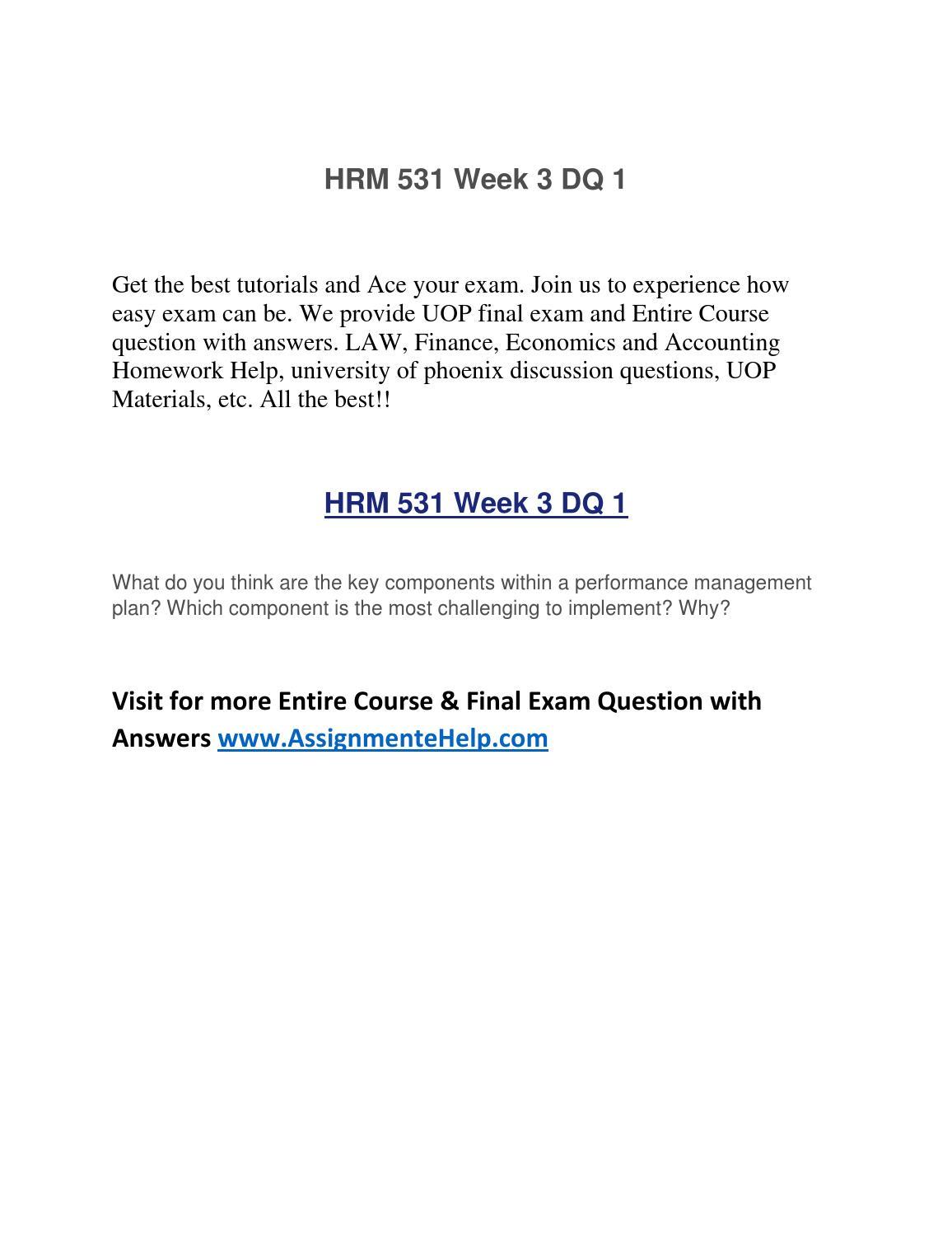 Hrm 531 performance management plan