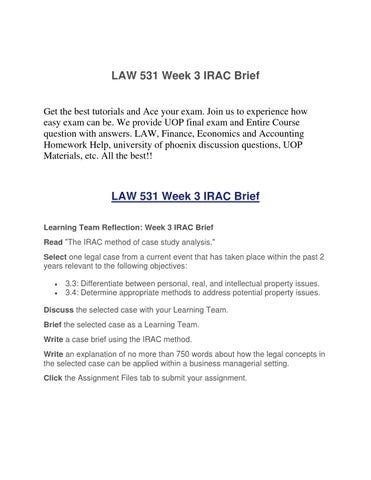 the irac method of case study analysis law 531