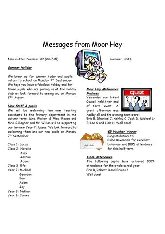 messages from moor hey newsletter number 39 22715