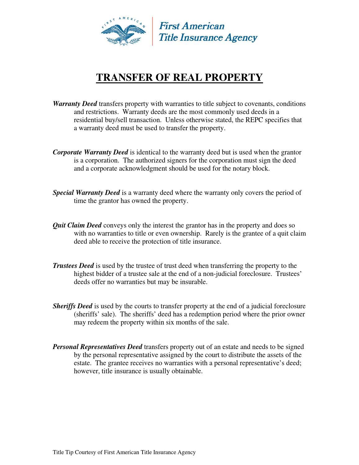 Transfer Of Real Property By Troy Felt Issuu