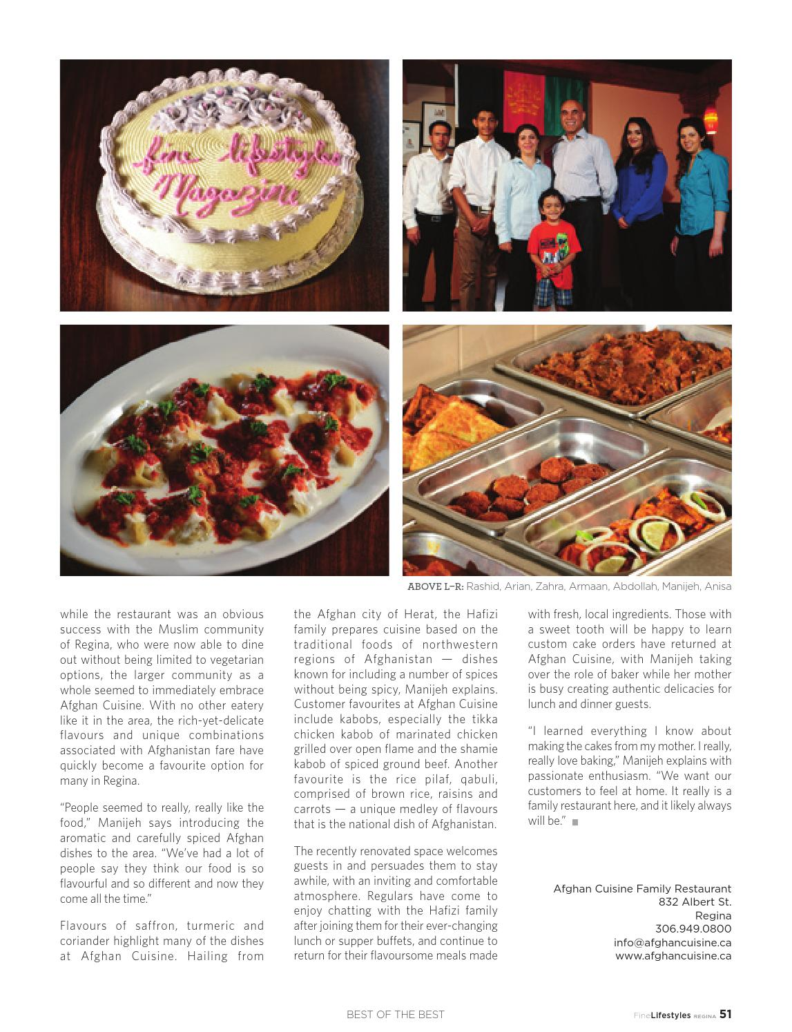 Fine lifestyles regina volume 7 issue 3 2015 by fine for Afghan cuisine regina