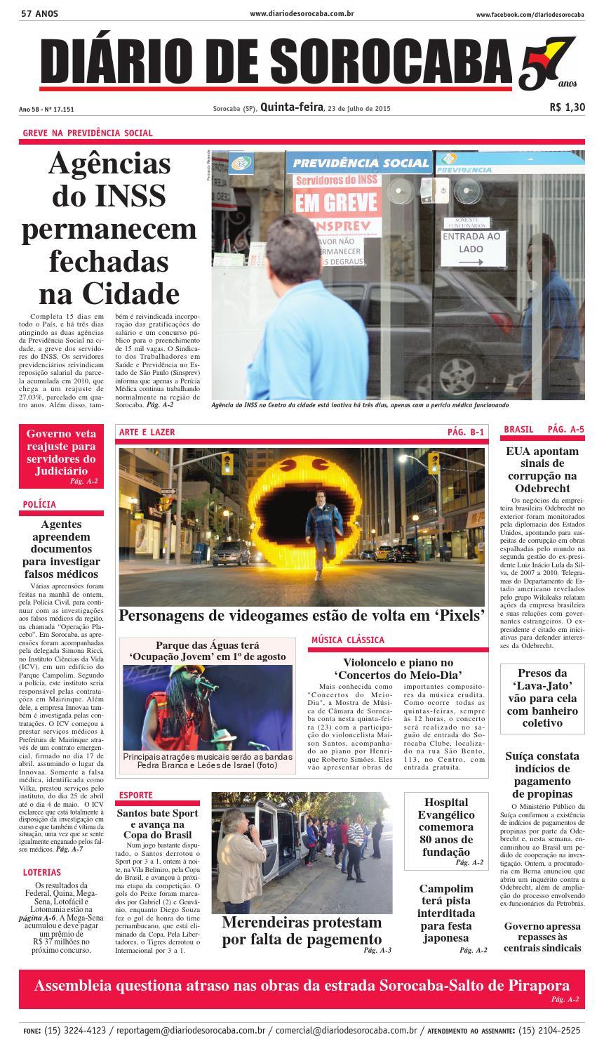 ab4314d1795c6 Edição de 23 de julho de 2015 by DIÁRIO DE SOROCABA - issuu