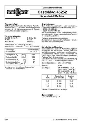 Castolin castomag 45252 schweissen zusatzwerkstoffe by Castolin ...