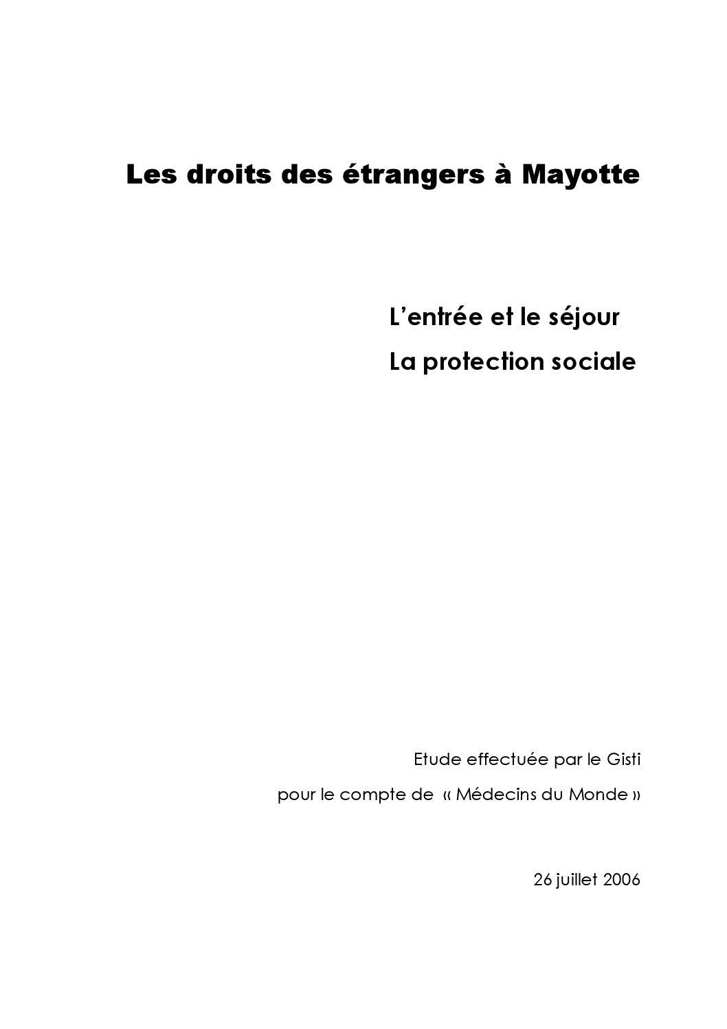 Les Droits Des étrangers à Mayotte Lentrée Et Le Séjour