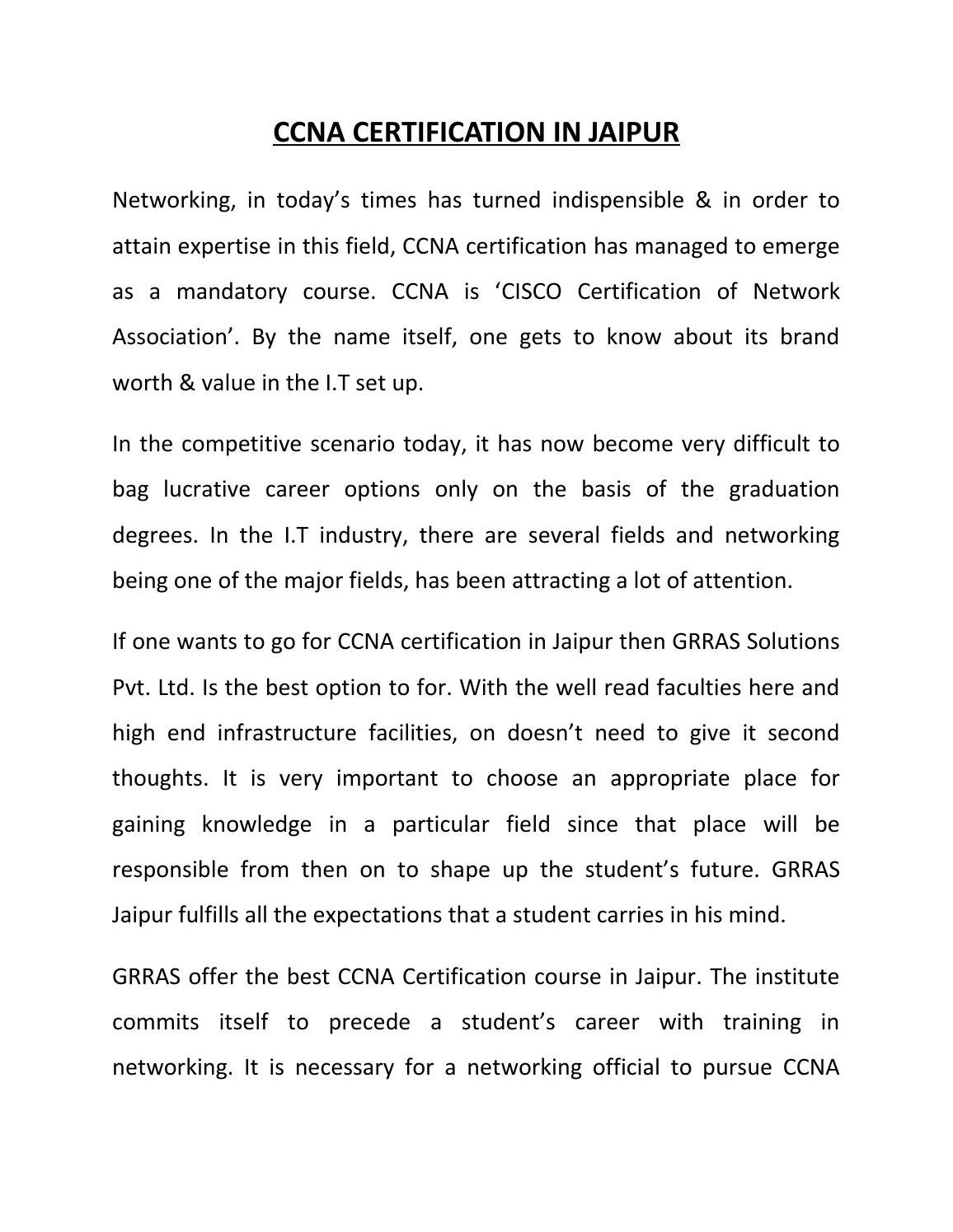 Ccna certification in jaipur article by ruchi marget issuu 1betcityfo Gallery