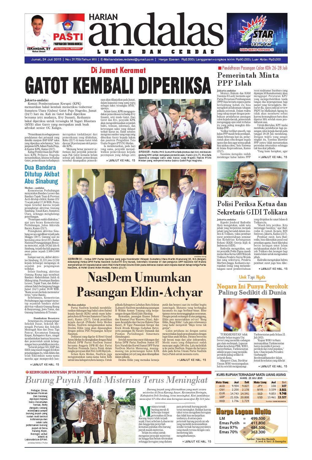 Epaper andalas edisi jumat 24 juli 2015 by media andalas - issuu