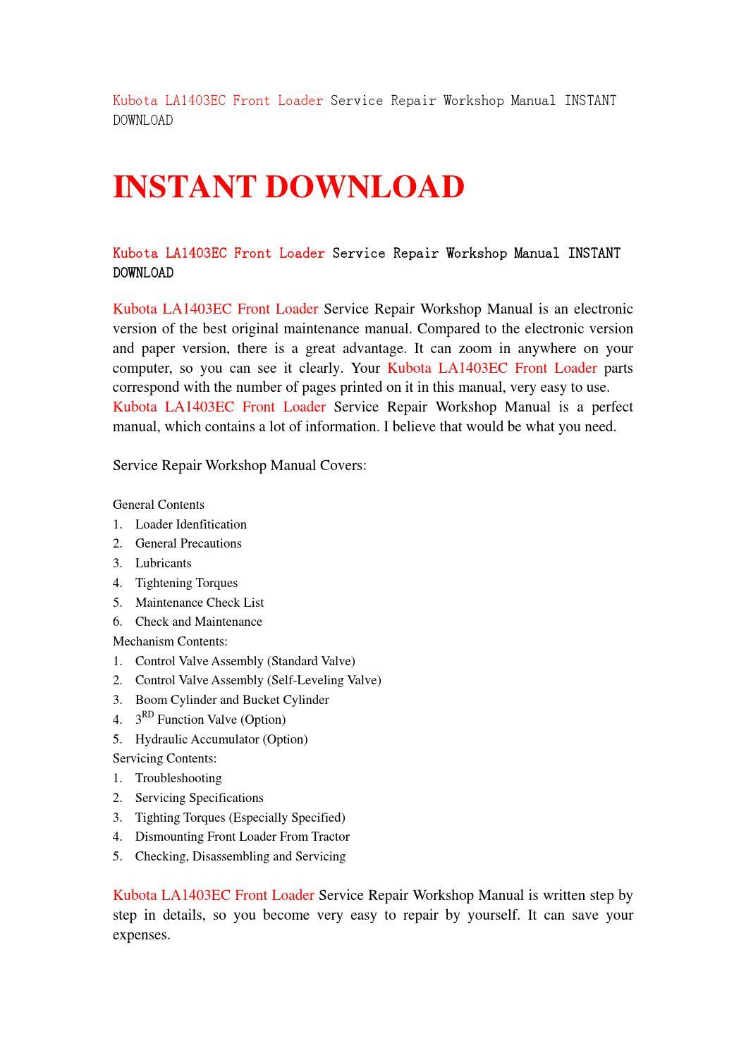 Kubota la1403ec front loader service repair workshop manual instant  download by fgbhvvffff - issuu