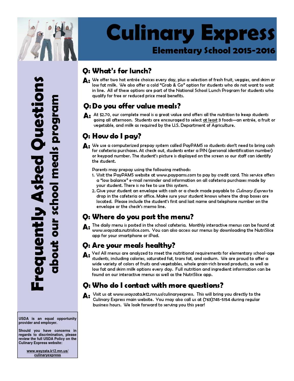 2ba9b39752e Elementary Culinary Express FAQ by Wayzata Public Schools - issuu