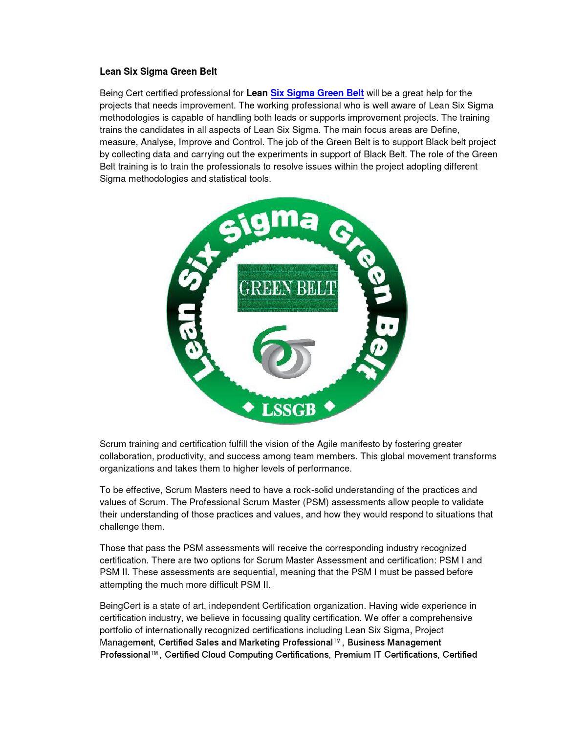 Lean Six Sigma Green Belt By Certified Scrum Master Issuu
