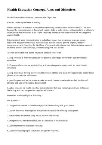 concept aim and objectives of health education