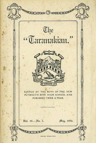 1930 The Taranakian Vol. 19 No. 1 May