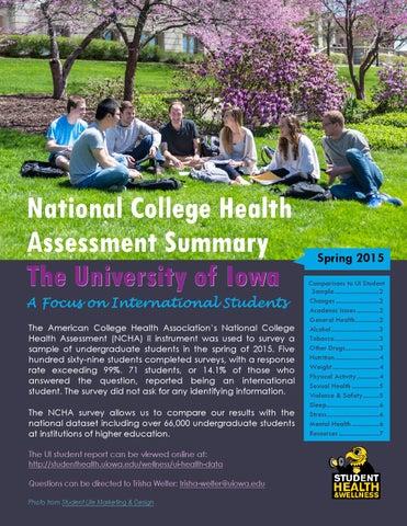 2015 National College Health Assessment Summary University Of Iowa
