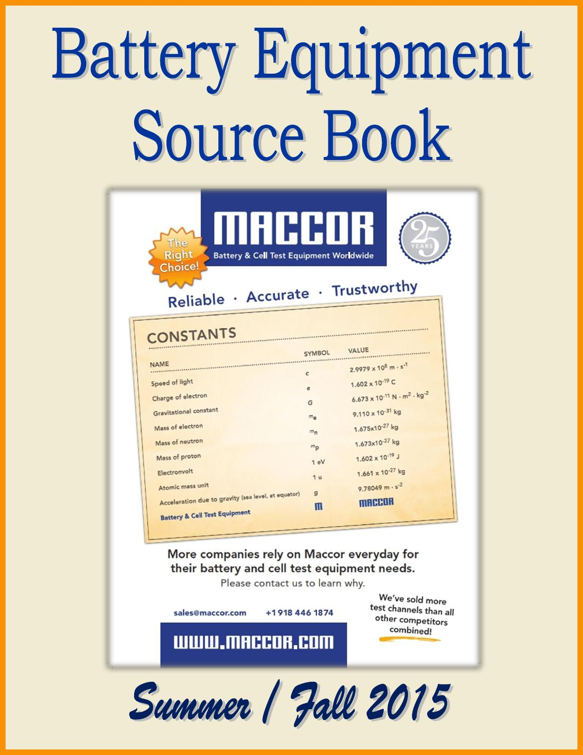 Battery Equipment Source Book by Federal Buyers Guide, inc