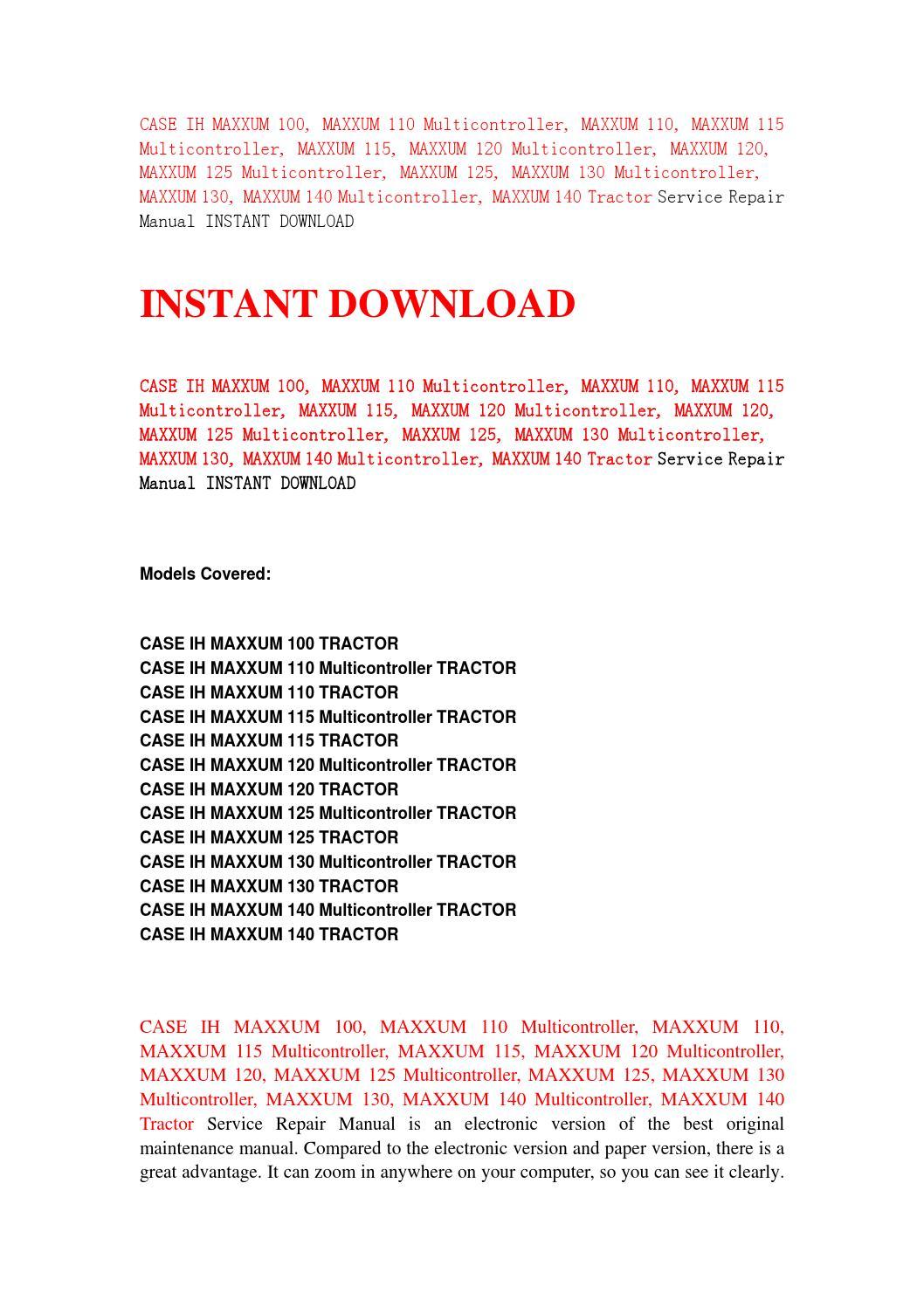 Case ih maxxum 100, maxxum 110 multicontroller, maxxum 110, maxxum 115  multicontroller, maxxum 115, by jfhsefnsen - issuu
