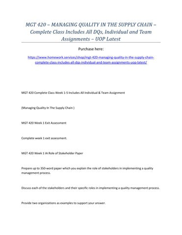 mgt 420 week 1 individual role of stakeholder paper This tutorial contains following attachments mgt 498 week 2 individual assignment ethics and social responsibilityzip.