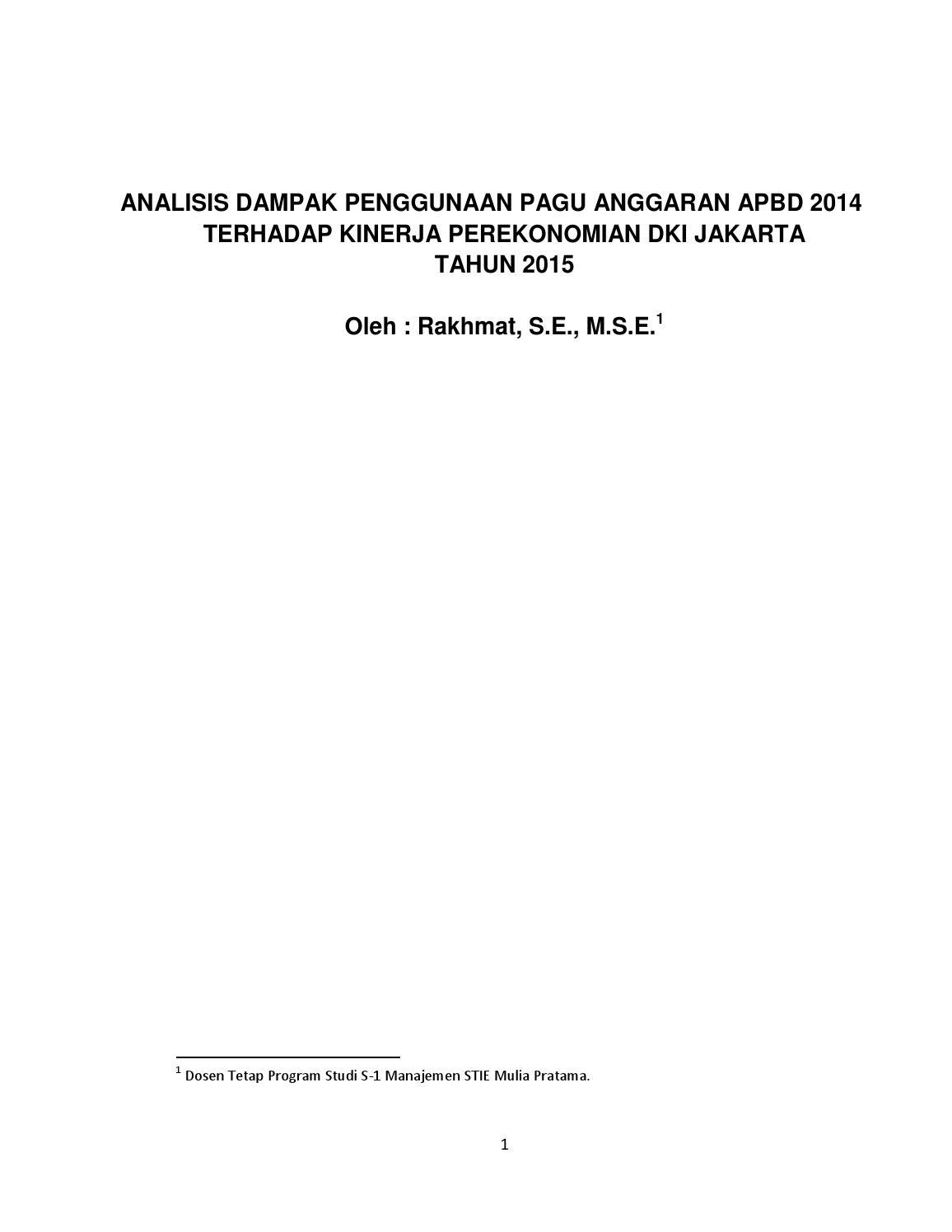 Analisis Dampak Penggunaan Pagu Anggaran Apbn 2014 Terhadap Teori Ekonomi Makro Pratama Perekomian Dki Jakarta By Stie Mulia Bekasi Issuu