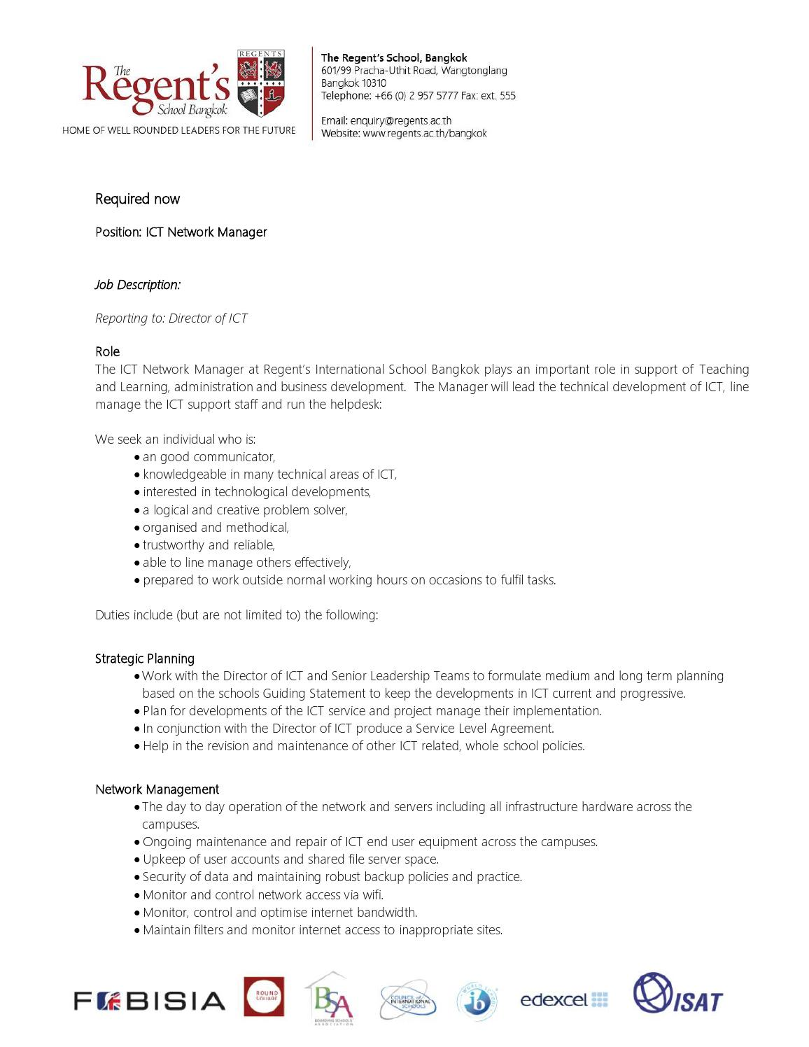 job description ict manager by the regents international school bangkok issuu - Practice Director Job Description