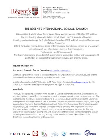 Job Description Business And Economics Teacher By The Regent'S
