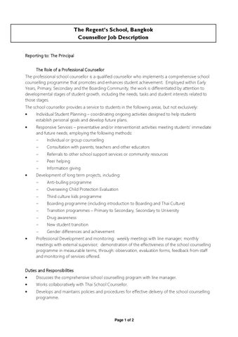 School Counsellor Job Description  By The RegentS International