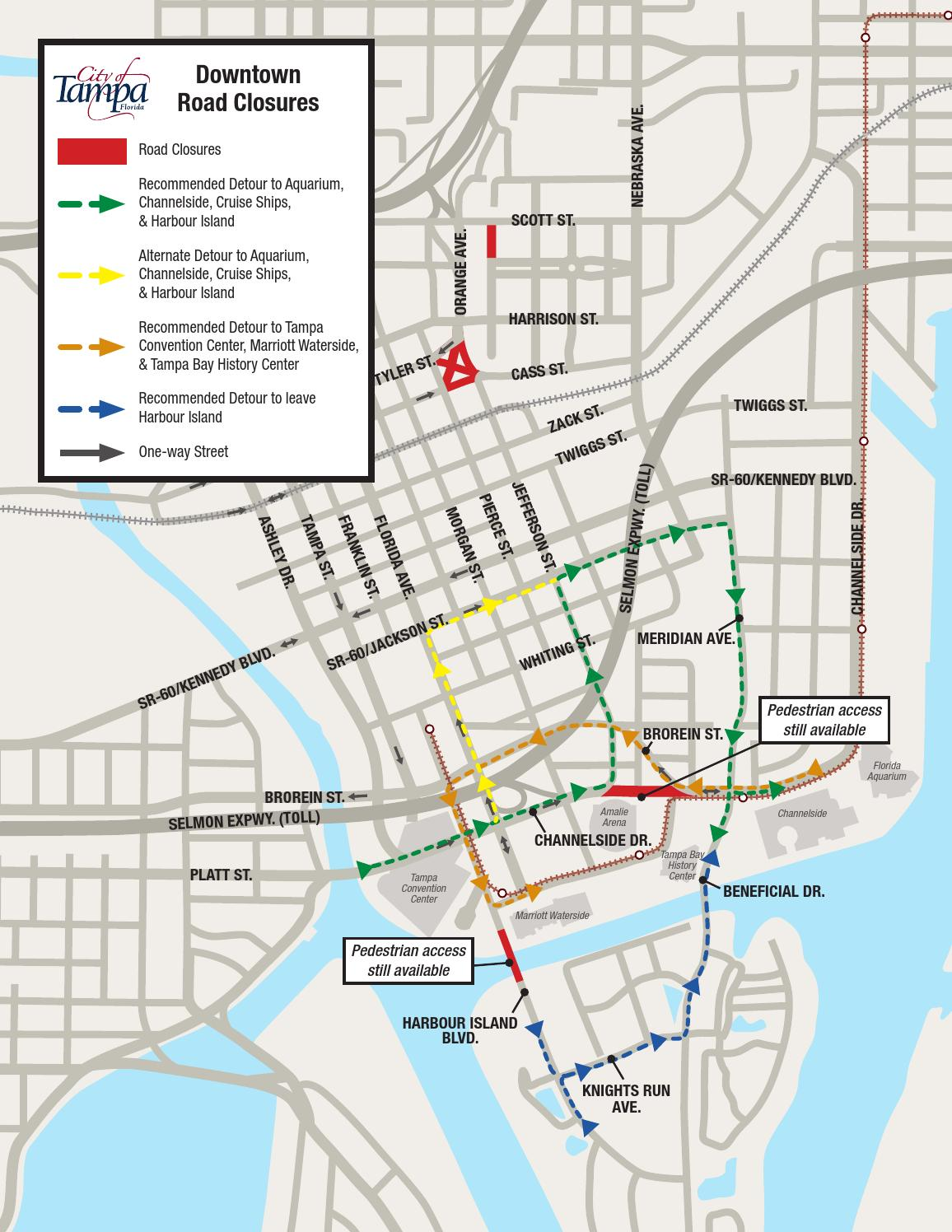 Tampa Channelside Drive downtown road closures map 1 by WFLA