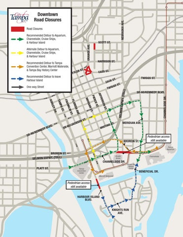 Tampa Channelside Drive downtown road closures map (1) by WFLA ... on