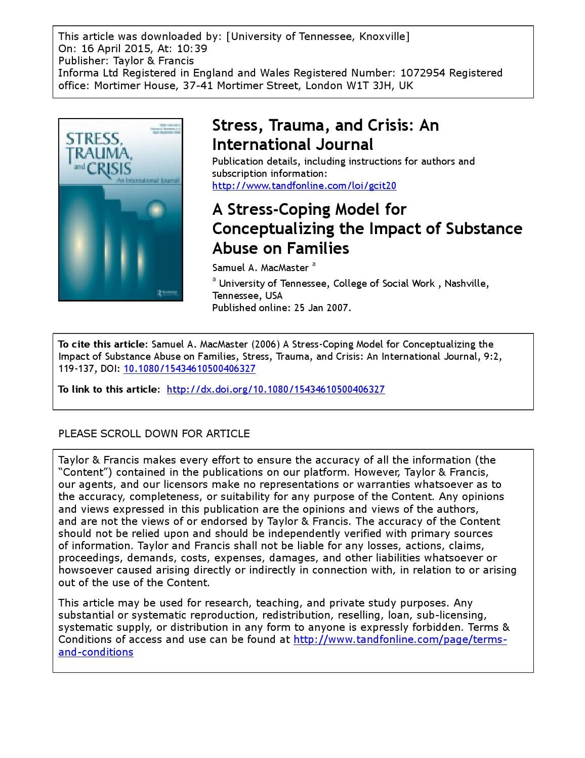 A Stress Coping Model For Conceptualizing The Impact Of Substance