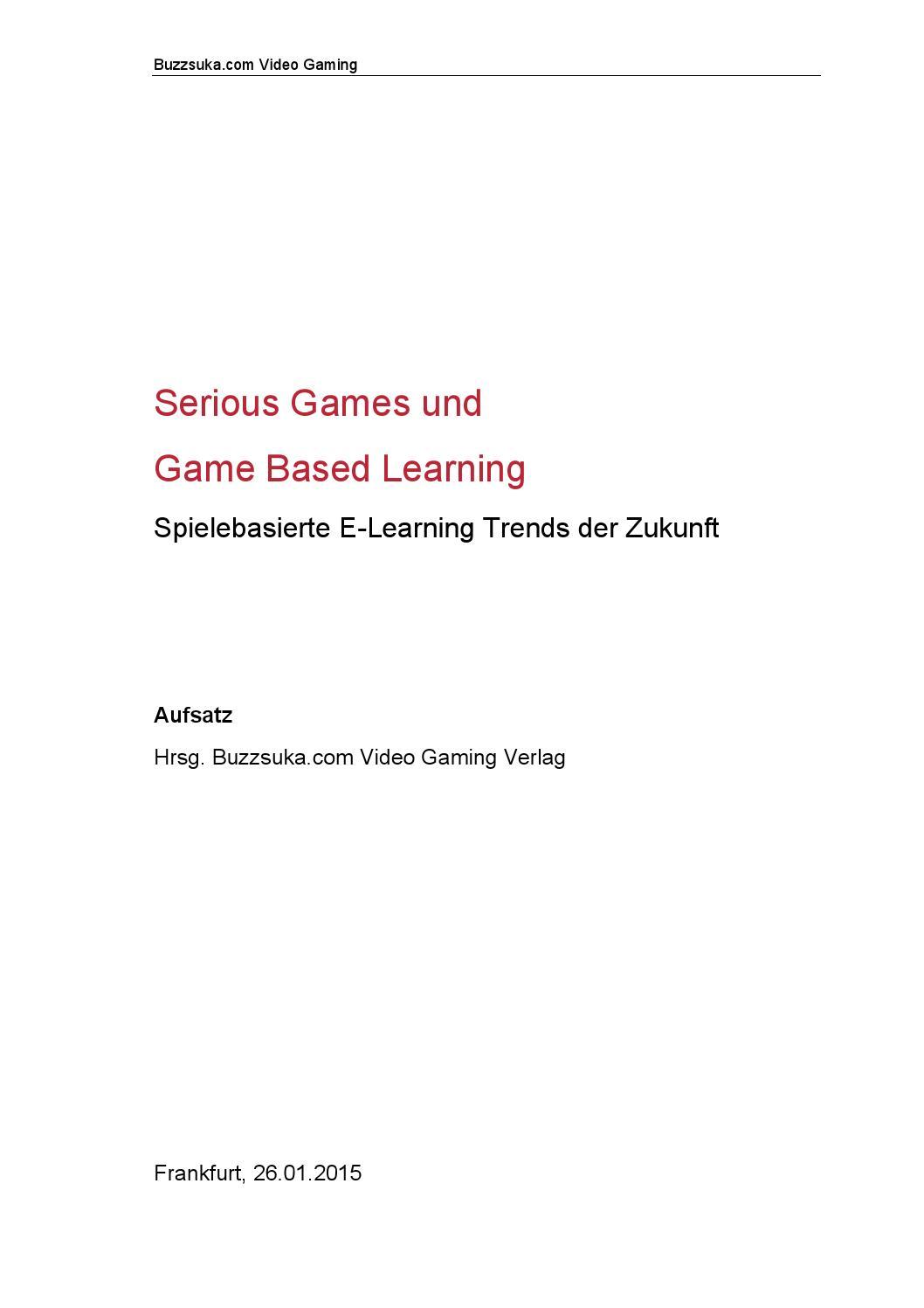 Serious Games und Digital Game Based Learning - Spielebasierte E ...