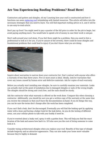 Are You Experiencing Roofing Problems? Read Here! by