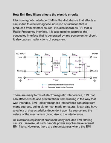 How emi emc filters affects the electric circuits by Nagpal Threads